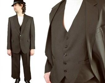 Vintage 3 Piece Suit 40S 34x28 Mens Blazer Vest Pants Dark Brown Disco Costume Free US Shipping