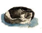 "cat art  ""A Sleeping Tuxedo Cat"" cat room wall painting deco print nursery room(86)"