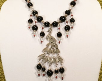 Peacock Necklace with Black Onyx, red jasper, faceted Swarovski crystals, and silver finished beads