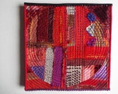 Red Art Quilt, Fiber Art, Wall Hanging, non-traditional quilt, collage art, fiber collage, Textile art