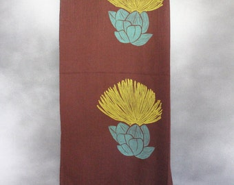 Shawl, Brown with Yellow and Blue Lehua Flower Print