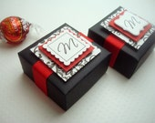 Personalized Wedding Favor Boxes, Black and Red with Damask Print, (30) Reserved for Bestima