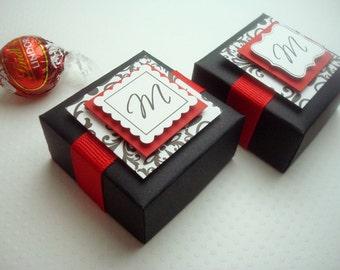 Personalized Wedding Favor Boxes, Black and Red with Damask Print, Set of Ten