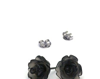 Frosted Black Mini Rose Posts, Semi Translucent Rosette Stud Earrings, Bohemian, Gothic, Titanium Posts, Stainless Steel Posts