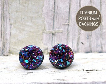 Faux Drusy Post Earrings - Multi Color Purple Rainbow Glitter Stud Earrings - Faux Druzy on Titanium Posts