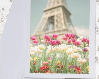Paris Photo Notecard - Eiffel Tower and Tulips Note Card, Greeting Card, Stationery, Blank Notecard