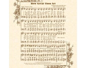 HOW GREAT THOU Art - 11x14 Antique Hymn Art Print on Natural Parchment in Sepia Brown Ink