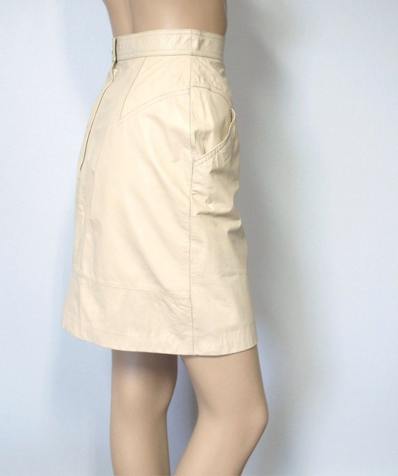 vintage ivory leather skirt mini wilson by