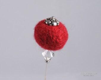 Needle Felted Stick Pin, Red Pin, 3 Inch Pin, Hat Pin, Lapel Pin, Hijab Pin H0151