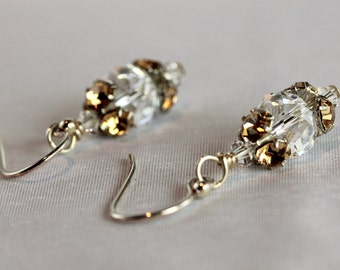 Gold Crystal Beadcap Swarovski Crystal Earrings