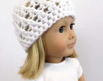 White Doll Hat, 18 Inch Doll Hat, Doll Clothing