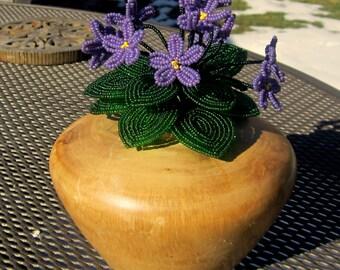 African Violet Bunch, Pink or Purple - Dee's Beaded Flowers