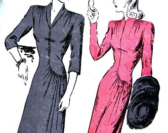 1940s Butterick Pattern 2802 * UNCUT *  AMAZING Ladies Dress w/Curved Seam Swirls & Bows on Hip * Size 16..bust 34