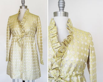 Vintage 1960s 60s Glam Gold Brocade Babydoll Dress sz Small