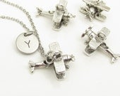 Airplane Necklace, Silver Propeller Plane, Initial Necklace, Personalized Stamped Initial Monogram Necklace Y094