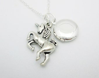 Unicorn Necklace, Silver Unicorn and Round Locket Necklace A029