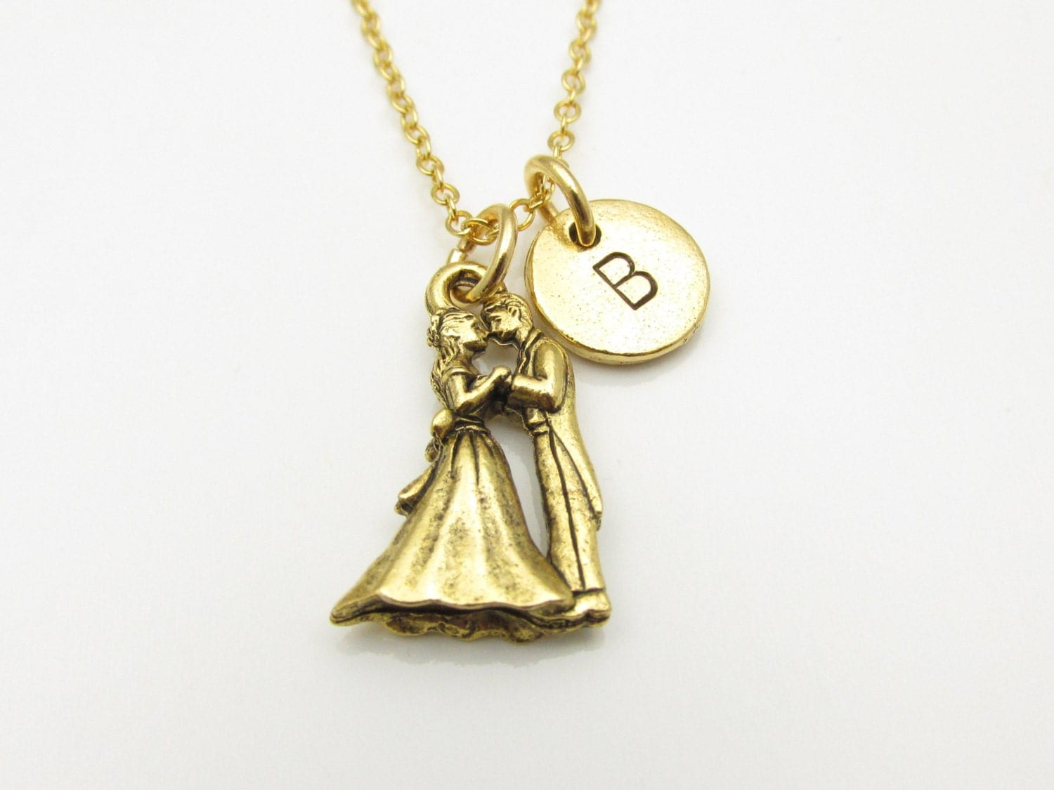 Kissing Couple Necklace Gold Bride and Groom Prom Couple