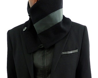 Black wool Neckwarmer /Barrel shape with leather trim scarf muffler/ lined with warm fleece by Wendel Johnston