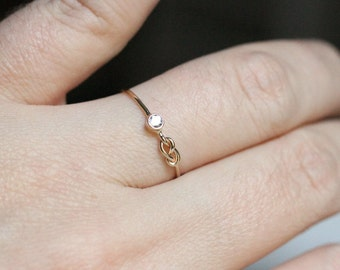 Select a Stone - Delicate Birthstone Infinity Knot Stack Ring in Solid 14k Rose or White or Yellow Gold - Tiny Birthstone Stacking Ring