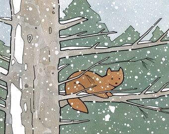 Pine Marten Animal Art Print, 5x7 Snowy nature illustration