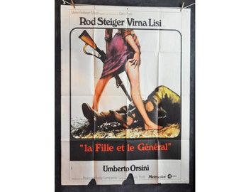 Vintage 1967 LARGE French Movie Poster for Italian Film The GIRL and the GENERAL Rod Steiger Virna Lisi