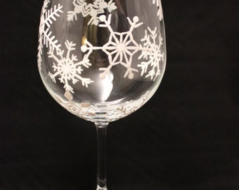 Hand painted holiday wine glass with snowflakes - Christmas wine glass - snowflake glass - single glass