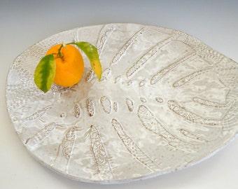 Ceramic Platter White Serving Platter  fruit bowl , white pottery, Tableware,  cheese platter cake plate