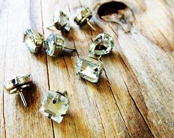 Push Pins Thumbtacks Pushpin Decorative Thumb Tack Rhinestone Gem Diamond Jeweled Bling Office Supplies Decor Unique Gift Idea Cubicle Decor