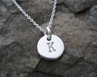 """Tiny Initial Necklace, Small Initial Necklace, Sterling Silver, 3/8"""", Tiny Initial Charm, Initial Pendant, Gifts for Women, Women's Presents"""