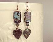 Bohemian style blue czech glass and patina heart earrings -- Charlotte Divine