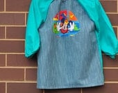 Child's art smock -  age 3 to 4 - Teal smock with Mickey Mouse