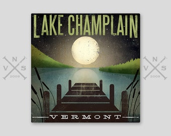 CUSTOM Moonrise YOUR LAKE Dock Stretched Canvas Wall Art ready-to-hang