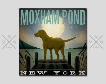 CUSTOM PERSONALIZED Moonrise Dock Dog  Stretched Canvas Wall Art Signed Ready to Hang