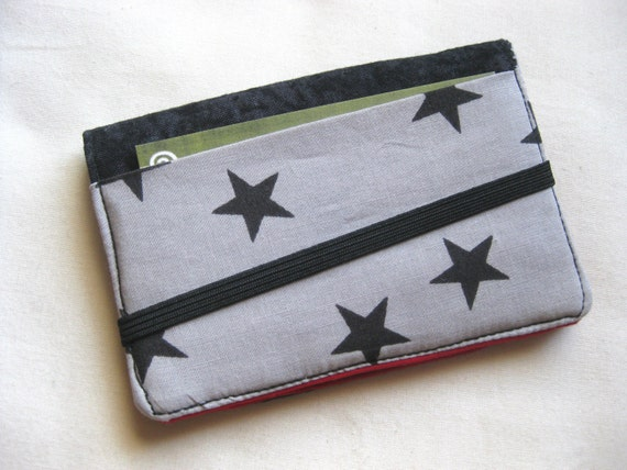 Business Card Holder Mini Wallet- Bifold Inside Outside Wallet in Black and Silver Star Fabric with Black and Red Pockets