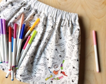 The COLORful Birds Handmade Fully Lined Skirt in Organic Cotton