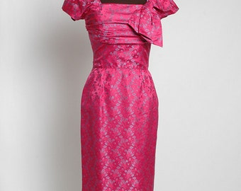 SALE! 1950s 1960s vintage Marjorie Michael cocktail dress * cerise pink silk jacquard 5S886