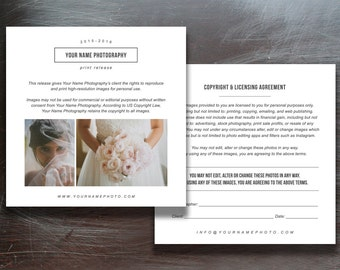 Print Release Templates - Photo Marketing - Copyright Agreement for Wedding Photographers - Digital Photoshop Templates