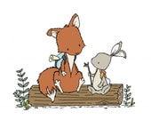 Woodland Nursery Art -- Let's Be Adventurers -- Fox and Bunny Adventure Pals -- Children Art --  Kids Wall Art