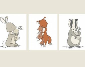 Woodland Nursery Art -- Mama and Baby Hugs -- Bunny, Fox, Badger -- Set of 3 Prints, Woodland Nursery Decor, Kids Wall Art