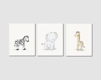 Tribal Nursery Art Prints -- Safari Animals -- Set Of 3 Prints -- Elephant Giraffe Zebra -- Kids Wall Art