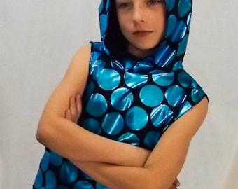 boys ninja hoodie tank top kids shiny print shirt sleeveless