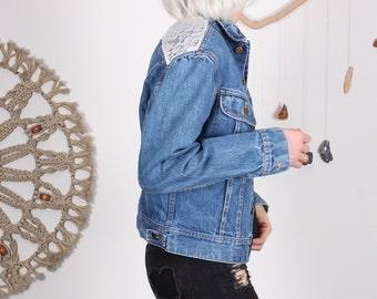 Lee Denim Jacket with Lace Back - M
