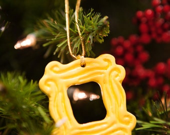 """Yellow Peephole Frame Ornament (2.25"""" x 2.25""""), inspired by the one on Monica's door as seen on Friends"""