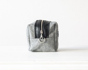 Makeup bag,accessory bag,cosmetic case in wool herringbone and leather - Cube