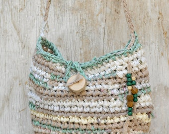 Tan aqua white crocheted rag bag, Fabric crocheted purse with wooden beads, Fairy handbag