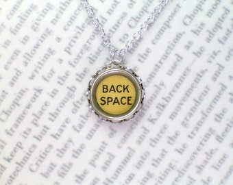 Typewriter Key Necklace With Back Space Key - Typewriter Key Jewelry From HauteKeys
