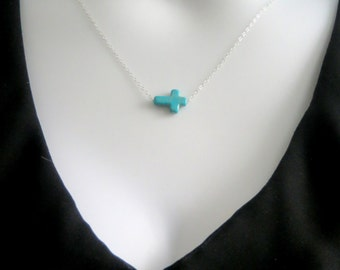 Sideways Cross Necklace, Silver cross. Torquoise necklace, sideways Cross