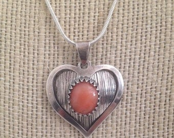 SALE...Lovely Genuine Coral and Sterling Silver 925 Heart Pendant made in Israel. Perfect Jewelry Gift. Gift for her. ETSY Gift