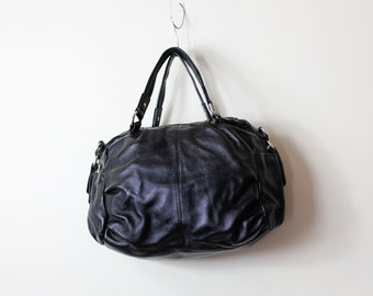 Black leather purse, leather bag tote - Jerrie
