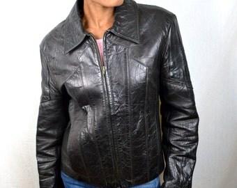 Nice Vintage 1950s Black Leather Jacket Coat - Hideout, Inc